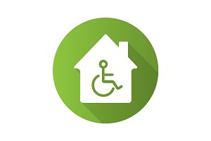 House with special facilities. Flat design long shadow glyph ico