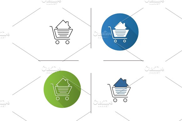 Shopping Cart With House Inside Icon