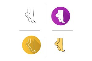 Woman's feet standing on tiptoe icon
