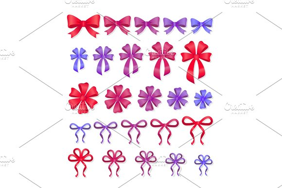 Set Of Decorative Bows Gift Ribbons Present Decor