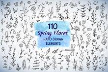 110 Spring Floral HandDrawn Elements