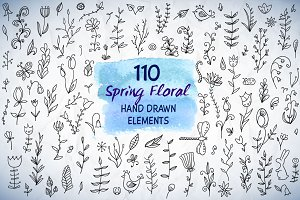 110 Spring Floral HandDrawn Elements