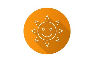 Happy and funny sun smile. Flat linear long shadow icon