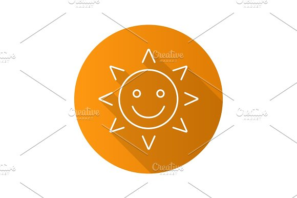 Happy And Funny Sun Smile Flat Linear Long Shadow Icon