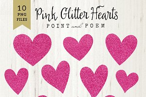 Hand Drawn Pink Glitter Hearts