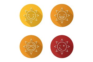 Sun smiles flat linear long shadow icons set