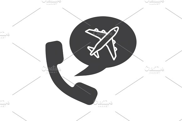 Plane tickets order by phone glyph icon