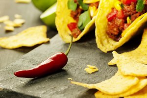 Mexican nachos chips and tacos