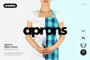 Apron Many Views Mockup Set