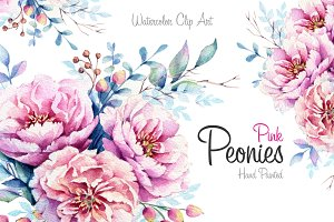 Pink Peonies Watercolor set