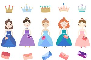 Little princesses clipart