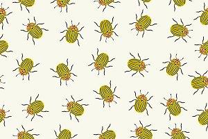 Seamless pattern colorado beetles