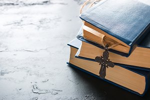 bible books and christian cross