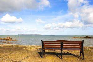 Bench in a sunny day