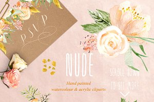 Nude & gold. Watercolor clipart