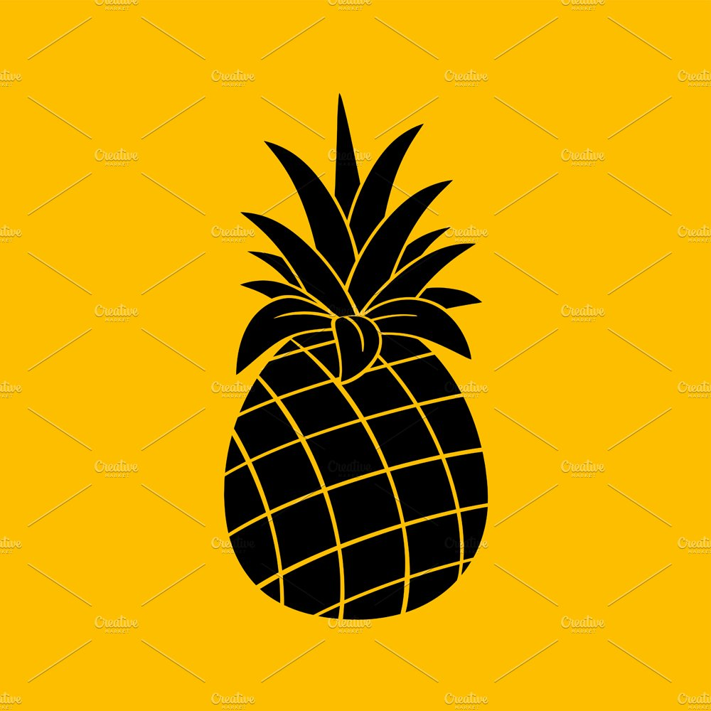 Pineapple Black And White Silhouette ~ Illustrations ...