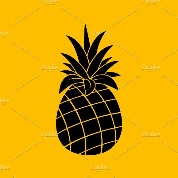 Pineapple Black And White Silhouette