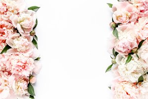 Border frame made of beige peony