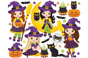 Vector Halloween Witch Clipart