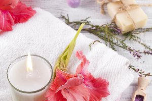 Spa flowers and candles