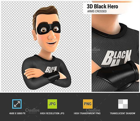 3D Black Hero With Arms Crossed