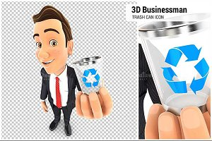3D Businessman Holding Trash Can