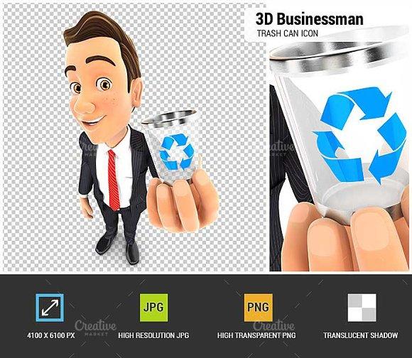 3D Businessman Holding Trash Can