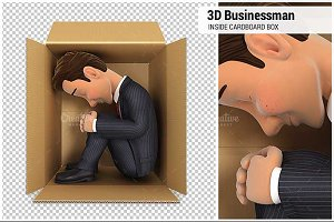 3D Businessman Inside Cardboard