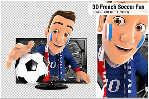 3D French Soccer FanTelevision