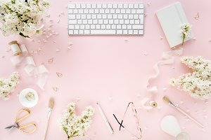 Women's styled pink desk