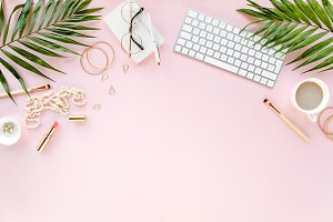 Stylized pink desk c of palm leaves