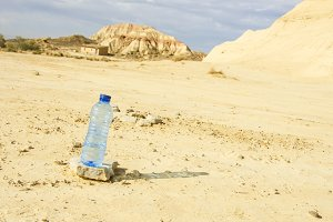 Bottle of water in Desert