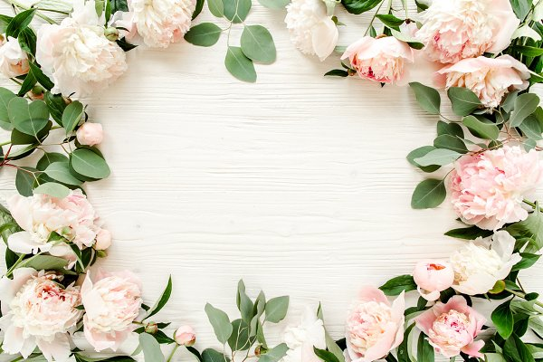 Frame made of pink peonies