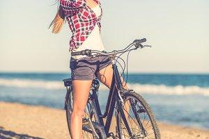 Sitting on bike, Vintage