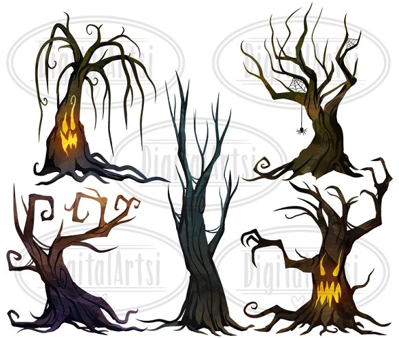 Watercolor Spooky Trees Clipart in Illustrations - product preview 2