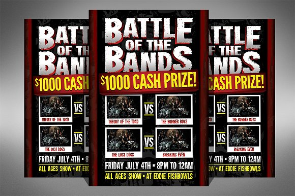 battle of the bands flyer flyer templates creative market