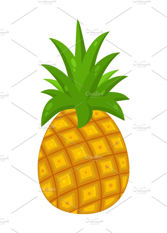 Pineapple Fruit With Green Leafs
