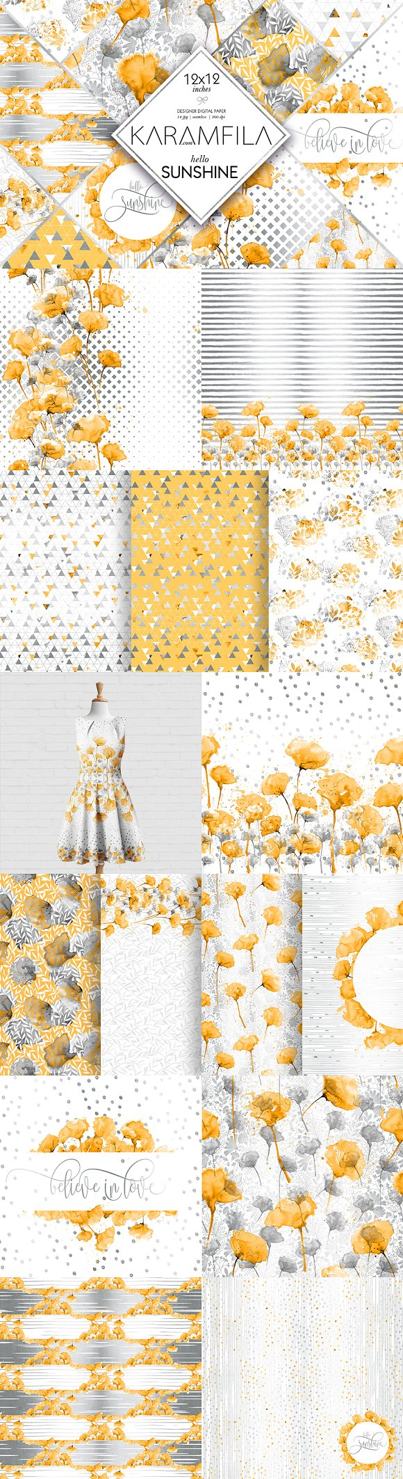 Yellow Grey Floral Patterns
