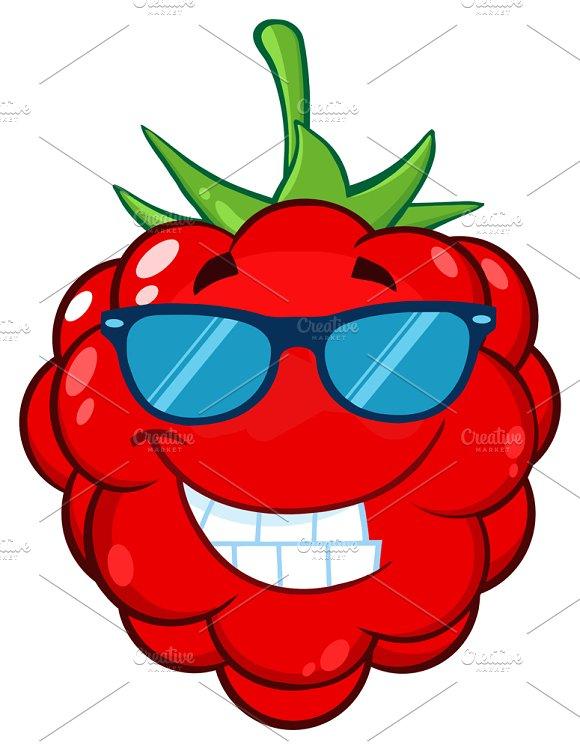 Smiling Raspberry Fruit Character