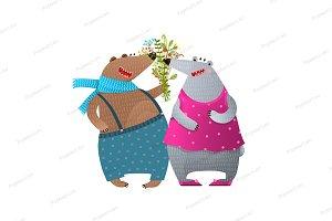 Bear Couple Presenting Flowers