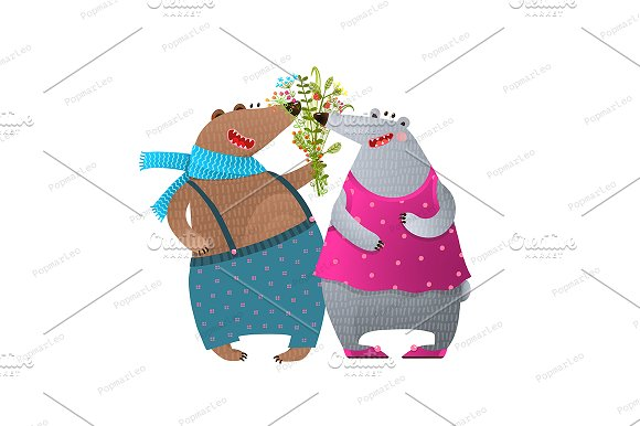 Bear Couple Presenting Flowers