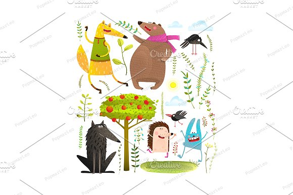 Wild Funny Forest Animals Set