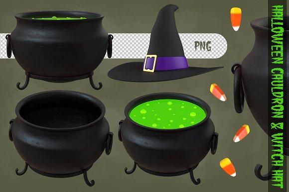 Halloween Cauldron Witch Hat