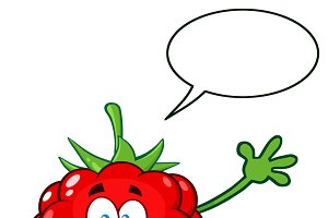 Raspberry Fruit With Speech Bubble