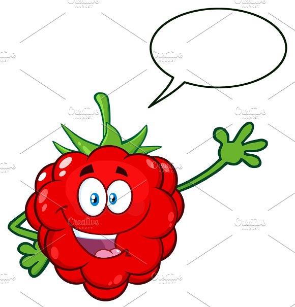 Raspberry Fruit With Speech Bubble