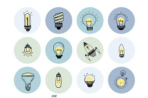 Vector of a set of light bulbs