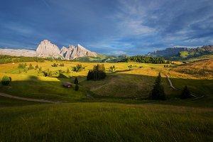 Dolomites mountains at sunset