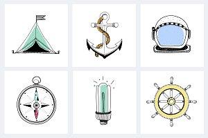 Marine explorer equipment doodle