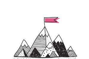 Success mountain doodle