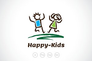 Happy Kid Logo Template